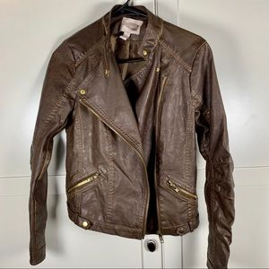 Forever 21 Faux Brown Leather Jacket Womens Small